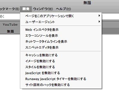 Safari3.1 DebugMenu