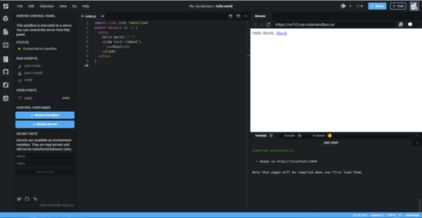 CodesanxboxのNext.jsプロジェクト画面