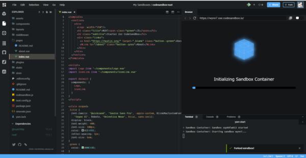 CodesandboxのNuxt.jsプロジェクト画像