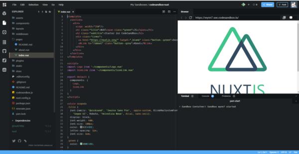Nuxt.jsのサンドボックスが生成された後の画像